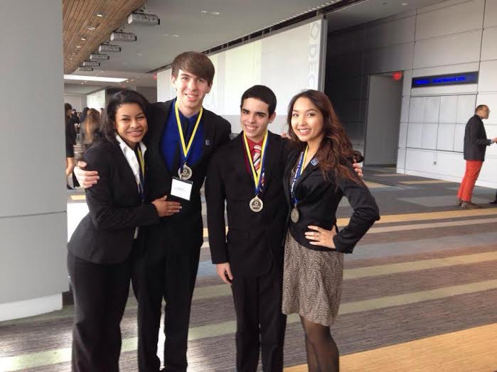 From left to right: Madison Kirkland, Joey Reierson , Neftali Rosado, and Vivian Lam, after their competition wins.  Photo provided by Vivian Lam.