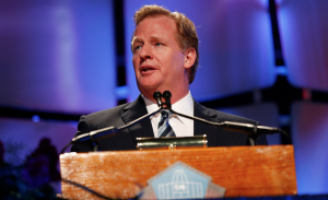 NFL commissioner Roger Goodell adresses a crowd. Photo courtesy of www.change.org.