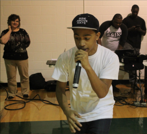 Senior Sterling Mclymont performs during the rap battle. He did not win the contest, however. Photo by Ronald Dayvault.