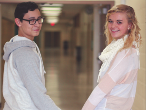 Sophomores Samantha Sudol and  Kaleb Zavala show their affection by holding hands in the hallway. They have been dating for over a year. Photo by Chance Thweatt