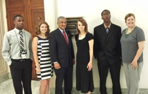 Congressman Bobby Scott, history teacher Cindy Hasley and students pose for a photo during  the 2014 DC Youth  Tour. Photo courtesy of PG Electrical Cooperative.